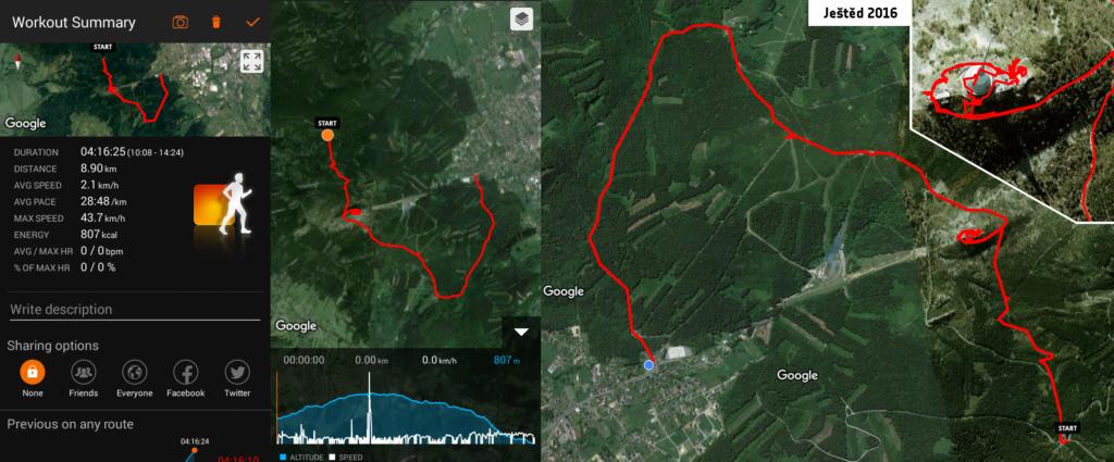 Záznam trasy v programu Sports Tracker